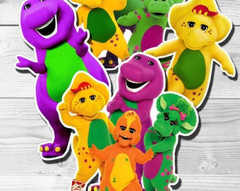 BARNEY Centerpiece, Barney Cake Toppers, Double-Sided, Digital File, You Print
