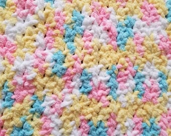 Pink/Yellow/Blue/White Pastels Baby Car Seat Crochet Blanket