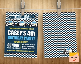 Police Invitation, Police Birthday, Party Invitations, Car Invites, Policeman Theme Invite, Cops and Robbers Printable, Officer Printables