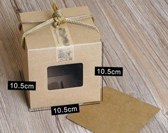 250pcs/pack: 10.5x10.5x10.5cm kraft Paper Gift Box with window For packing/protecting gift toys luxury gift box toy box