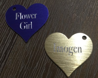Etched heart personalised charm Bridesmaids/Flower Girl/Name single or double sided