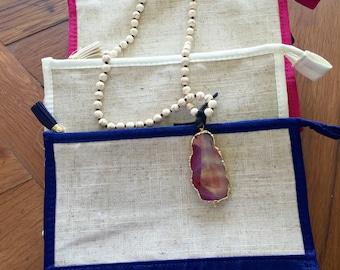 Monogrammed Linen Cosmetic Bag
