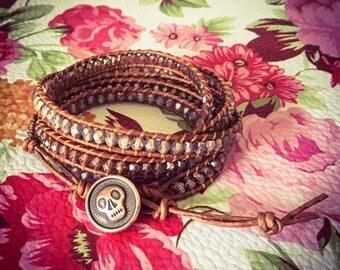 Skull Crush Leather Wrap Bracelet
