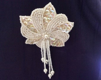 Unique handmade brooch with pearls and sequins