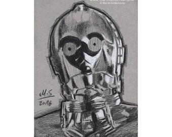 Star Wars Episode 7 C-3PO - Sketch card - Original