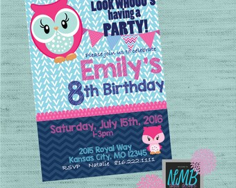 Owl Birthday Party Invitation 5x7
