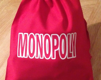 MONOPOLY Cotton Drawstring  BAG Perfect for Houses  Hotels Dice Board Game Pieces Xmas Pouch Storage New