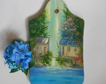 Artwork on the wood Oil painting Hand painting picture Wall decor Mini painting Kitchen decor Waterfall painting Romantic painting