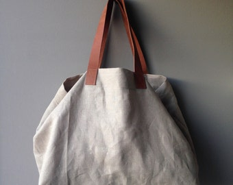Leather and Linen Weekend Bag