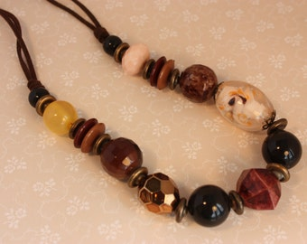 Vintage Statement Beaded Necklace Browns and Burgundies