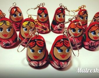 "Oreills earrings ""Matreshka"" polymer clay"