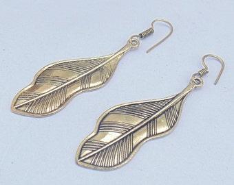 Indian Leaf Earrings   Large Brass Earring   Hand Soldered Earrings   Brass Oxidized Earring   Gypsy Jewelry Earring   Ethnic Earrings   E42