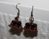 Black & brown-beaded handmade beadweaving-earrings
