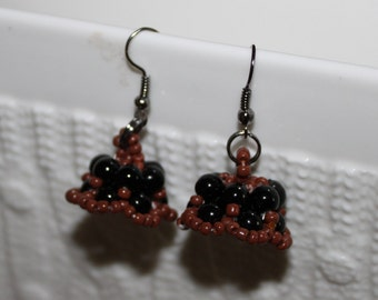 Black & brown-beaded handmade beadweaving-earrings