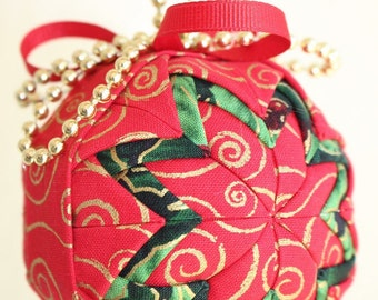 Christmas Swirls Fabric Ornament