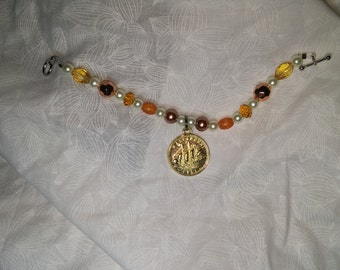 The Genivieve Bracelet/Anklet~ glass beads, and acrylics beads
