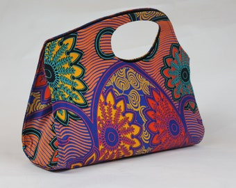 Handmade Golden Yellow, Red, Turquoise Floral Abstract Handbag