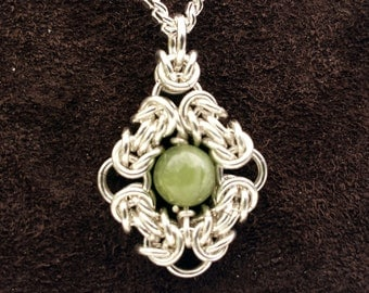 Byzantine Eye Chainmail Pendant - Sterling Silver with Grossular Garnet