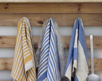 Striped Linen Kitchen Tea Towels | Set of 4