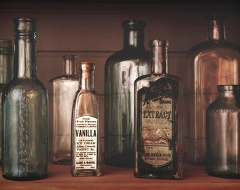 Photo Print - Sepia Toned Rustic Bottle Collection