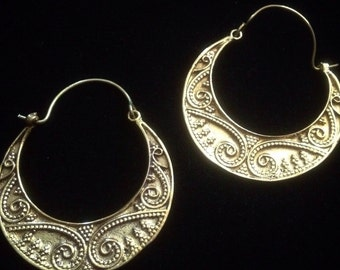 Ethnic Indian inspired brass hoop earrings (gypsy, boho)