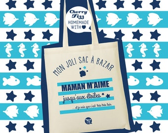 """Tote bag """"MOM loves me to the stars"""""""
