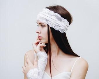 White Bridal Headpiece / Bridal Headband / White Lace Headband / Womens Headbands / White Headband / Bridal Hair Accessories / Boho Headband