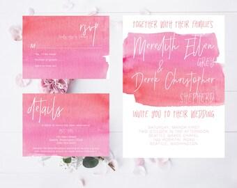 Pink and Orange Watercolor Calligraphy Wedding Invitation