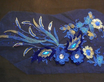 Luxury Large piece of  Blue & Gold sequins beaded floral lace Applique / beaded lace motif is for sale.  sold by per piece