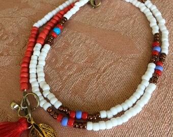 Summer equals White Bracelet-Beautieandthebead, Boho, hippie chic, beach jewelry