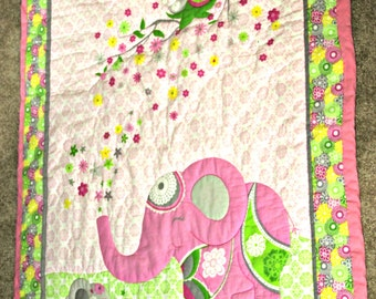 Pink Elephant Handquilted Baby Quilt