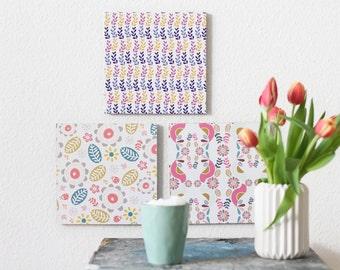 Colorful patterns paper tiles 3 piece