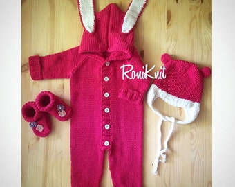 Knitted set ,knit overall,baby overall,romper,jumper,knitted romper,knitted cap,baby set,baby booties, knitted baby set,toddler,knitting