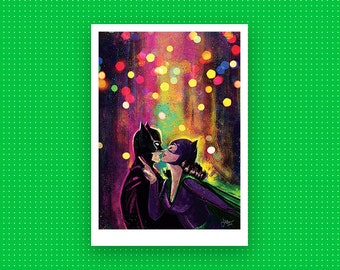 Batman and Catwoman A4 print