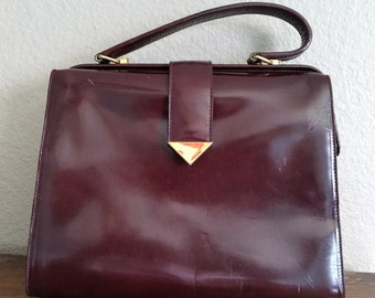 Vintage Oxblood Red Doctor satchel purse handbag