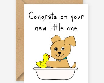 Congrats on your new little one, funny new dog card, blank, recycled