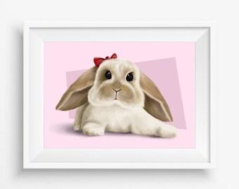 Bunny Rabbit Illustration children Art Print