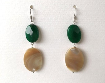 mother of Pearl pendant earrings with caramel and green agate