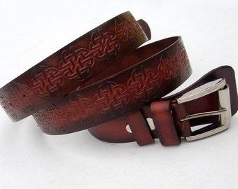 Leather belt for men/women, Rustic leather belt, Celtic belt, Handmade belt, Cow belt, Unisex belt