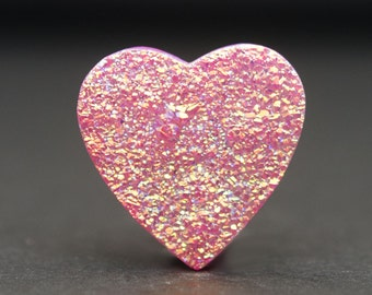 Heart Druzy Cabochon, Flat Priscilla Pink Druzy, 16 x 15 mm Druzy Gemstone for wire wrapping or setting, Sparkling Druzy Gemstone - DS0157