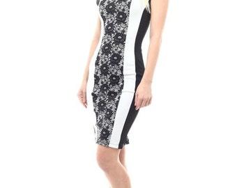 Lace Print Colorblock Dress