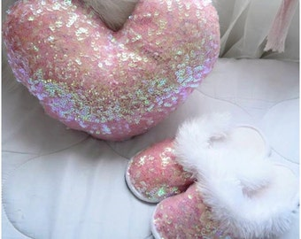 Bright pink slippers!