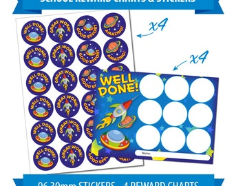 96 30mm Reward Stickers & 4 Reward Charts, Children, Teacher, Outer Space Theme.
