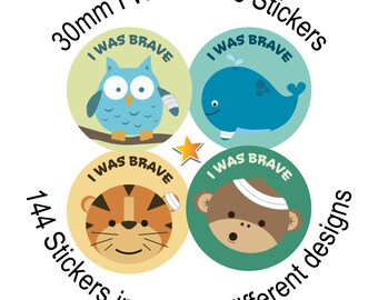 I've Was Brave - 144 30mm reward stickers - for Children, Doctors, Nurses