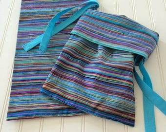 Colorful striped shoe bags/travel bags