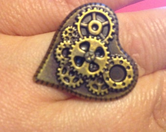 Handmade steampunk gear heart adjustable ring.