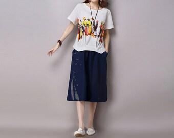 Blue Maxi Linen Woman Skirt - Linen Skirt - Spring Skirt