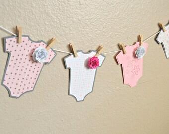 Baby Shower Onsie Banner, Baby Girl Banner
