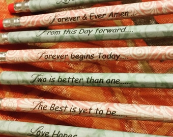 Set of 100 wedding /anniversary wrapped pencils/ Wedding favors / Anniversary favors /bridal shower favors