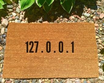 127.0.0.1 Hand painted doormat